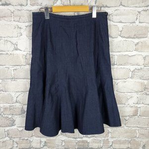 Larry Levine Flare Denim Stretch Skirt 8P